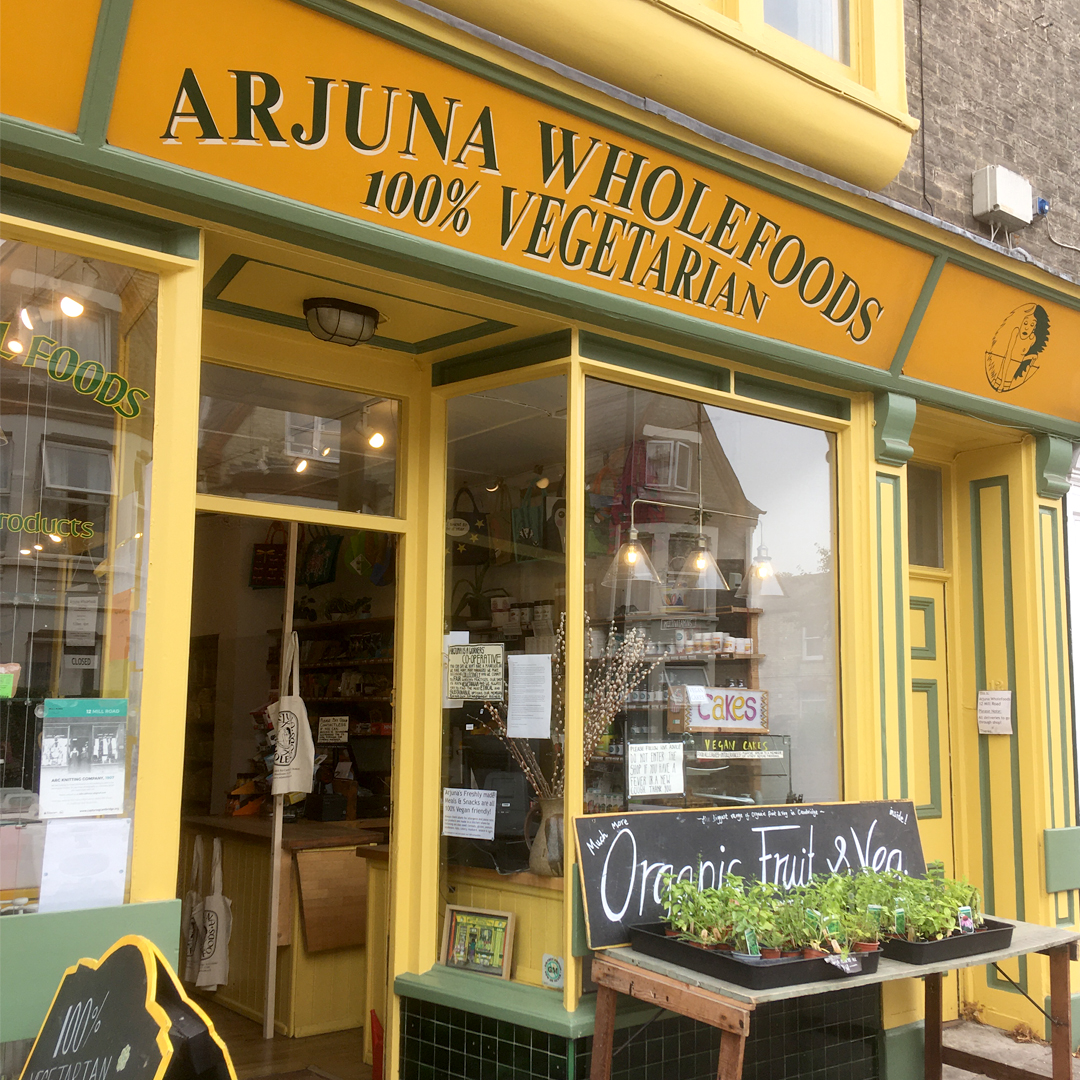 The store front of Arjuna Wholefoods on Cambridge's Mill Road.