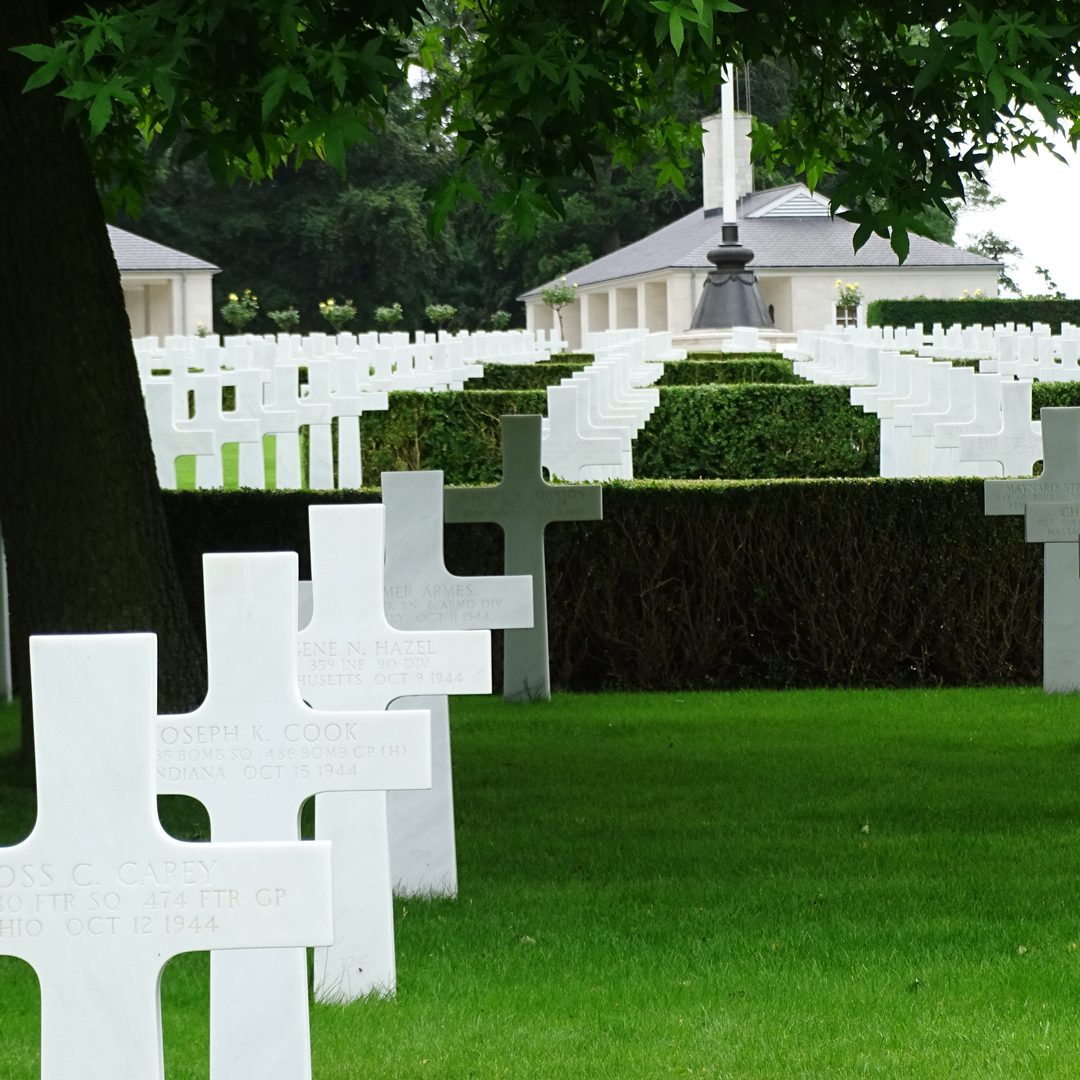 Graves of fallen service personnel at the American Cemetery at Madingley.